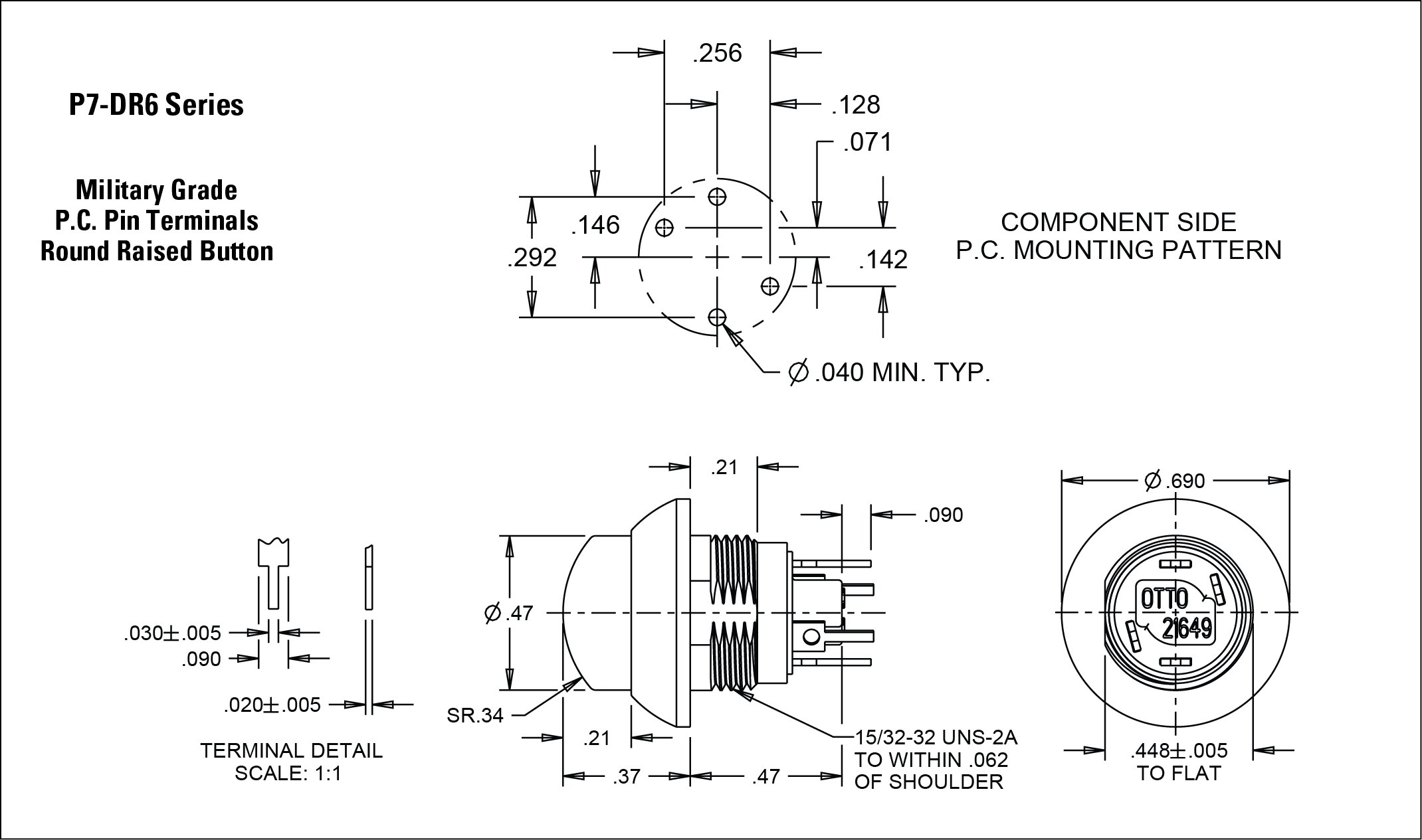 Dome Style Sealed Subminiature Momentary Action Pushbutton Switches 690 Double Light Switch Wiring Diagram This Quality Precision Snap Is Designed For Use In Instrument Panels Grips Computers Heavy Equipment And Other Applications Where